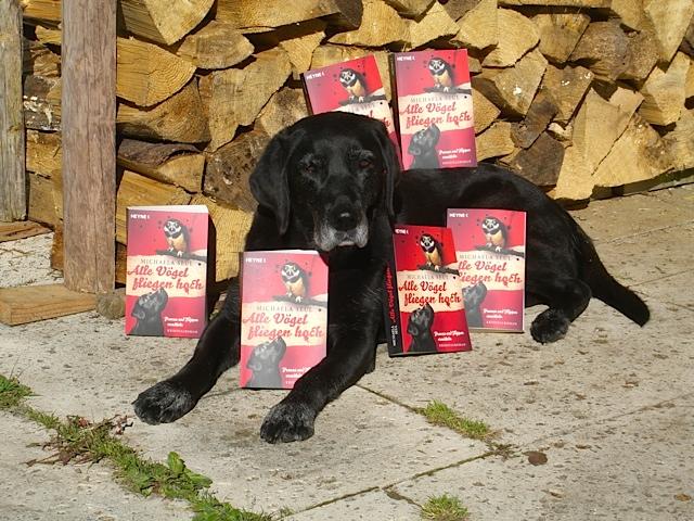 Hund mit Büchern, alle Vögel fliegen hoch, Luna und die Schriftstellerin Michaela Seul, flipper-privat.de
