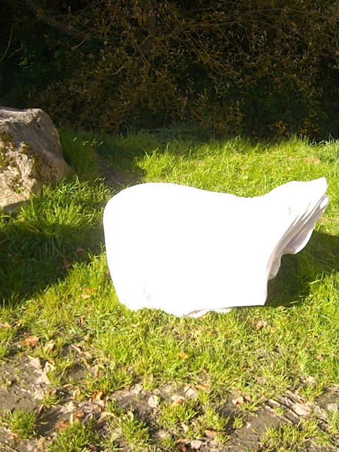 Hund versteckt sich, Hundeskulptur, Luna unter der Decke,  flipper-privat.de