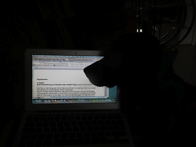 Hund am Computer, Miss Lomax korrigiert die Texte von Michaela Seul, flipper-privat.de