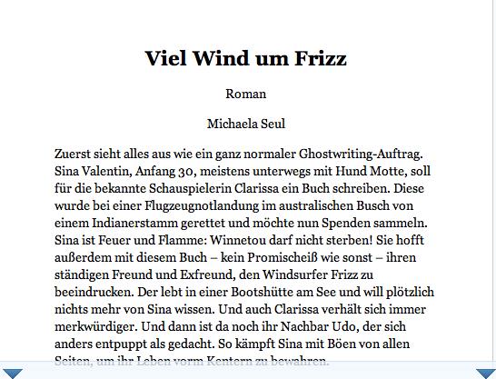 Inhaltsangabe des Buches Viel Wind um Frizz der Autorin Michaela Seul, in der ein Hund namens Motte eine Rolle spielt, wie man auf dem Buchcover schon sieht
