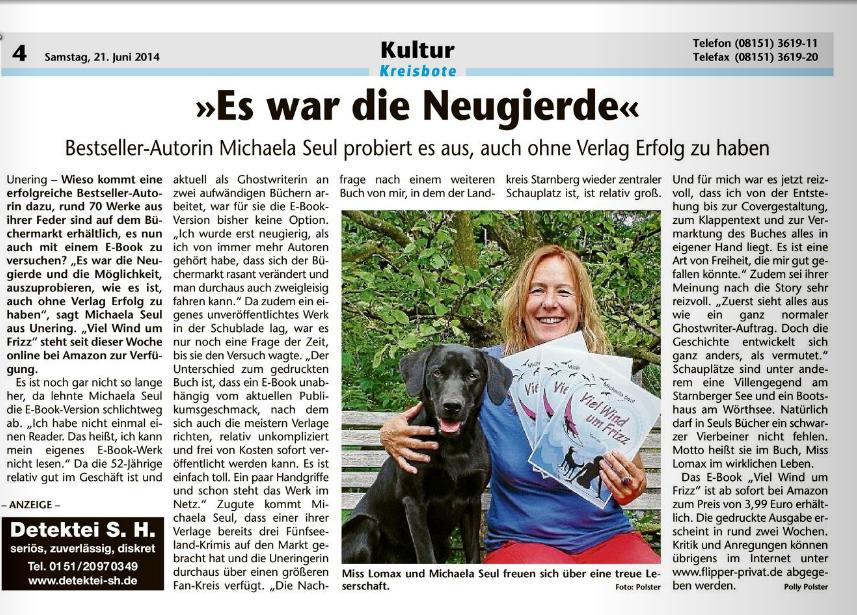 Viel Wind um Frizz wird in einem Artikel im Starnberger Kreisboten vorgestellt, es ist das erste E-Book der Autorin Michaela Seul, die man auf dem Foto mit ihrem Hund Miss Lomax sieht, einem schwarzen Labrador, der auch einen Hundeblog führt unter www.flipper-privat.de