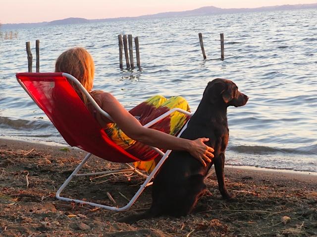 An der Seite ihres Frauchens, der Autorin Michaela Seul, genießt Miss Lomax den Sonnenuntergang am Bolsenasee in Italien, wobei sie neue Eindrücke führ ihren Hundeblog www.flipper-privat.de sammelt