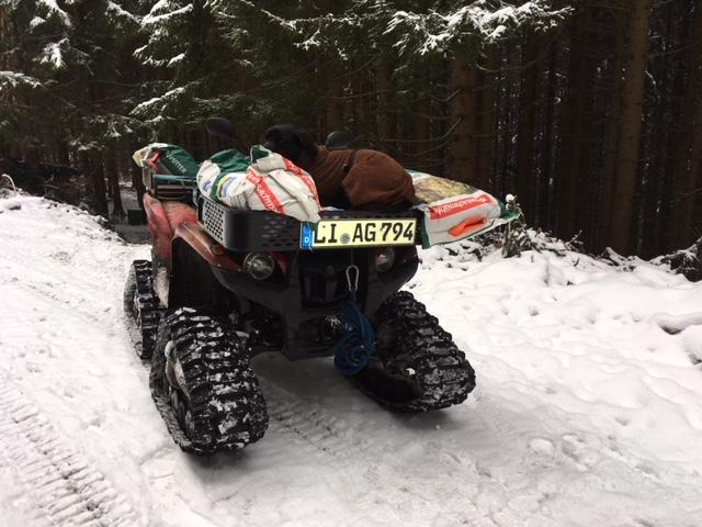 Hund auf Schneemobil auf MichaelaSeul.de